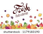 variety of fruits and berries... | Shutterstock .eps vector #1179183190