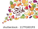 flow of a variety of fruits and ... | Shutterstock .eps vector #1179183193