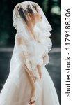 beautiful bride in white dress... | Shutterstock . vector #1179188506