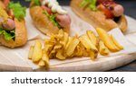 crispy golden french fries on a ... | Shutterstock . vector #1179189046
