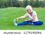 senior woman wearing sportswear ... | Shutterstock . vector #1179190096