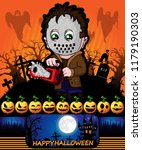 halloween poster with killer... | Shutterstock .eps vector #1179190303