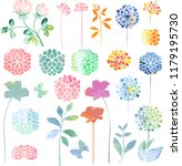 decorative plants in watercolor ...   Shutterstock .eps vector #1179195730