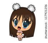 Cute Anime Girl Isolated On A...