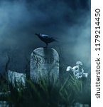 crow on a gravestone in... | Shutterstock . vector #1179214450