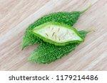 bitter melon or bitter gourd... | Shutterstock . vector #1179214486