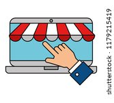 hand using laptop with parasol | Shutterstock .eps vector #1179215419