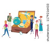 a brown suitcase with a tour... | Shutterstock .eps vector #1179216433