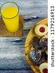 orange juice and different... | Shutterstock . vector #1179216913