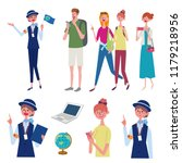 an image set of tour guide ... | Shutterstock .eps vector #1179218956