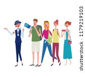 a woman tour guide and a happy... | Shutterstock .eps vector #1179219103