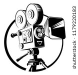 icon black retro movie camera... | Shutterstock .eps vector #1179220183