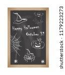 happy halloween. chalk drawings ...   Shutterstock .eps vector #1179223273