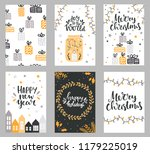 set of christmas greeting cards ... | Shutterstock .eps vector #1179225019