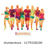 running marathon  people run  ... | Shutterstock .eps vector #1179228100