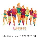 running marathon  people run  ... | Shutterstock .eps vector #1179228103