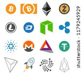 cryptocurrency vector icon set... | Shutterstock .eps vector #1179245929