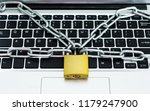close up of laptop with chain... | Shutterstock . vector #1179247900