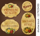 vintage labels with flowers | Shutterstock .eps vector #117925450