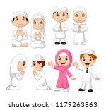 cartoon muslim kid collection... | Shutterstock .eps vector #1179263863