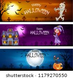 three sets of halloween banners | Shutterstock .eps vector #1179270550