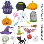 cartoon halloween symbols... | Shutterstock .eps vector #1179270769