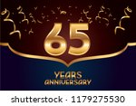65th anniversary gold numbers.... | Shutterstock .eps vector #1179275530
