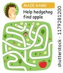 help hedgehg find apple. maze... | Shutterstock .eps vector #1179281200