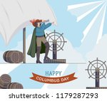 happy columbus day. greeting... | Shutterstock .eps vector #1179287293
