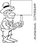 black and white illustration of ... | Shutterstock . vector #1179306349