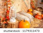 Autumn Yellow Leaves  Pumpkins  ...