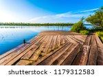 summer river wooden pier...   Shutterstock . vector #1179312583