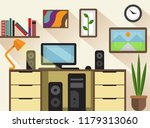 workspace and interior flat... | Shutterstock .eps vector #1179313060