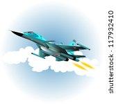 fighter bomber in the sky.... | Shutterstock .eps vector #117932410