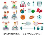 set of handicapped athlete on a ...   Shutterstock .eps vector #1179326443