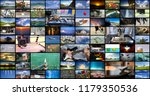 big multimedia video wall with... | Shutterstock . vector #1179350536