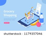 grocery shopping online concept.... | Shutterstock .eps vector #1179357046
