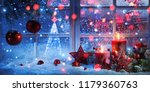 winter decoration with candles... | Shutterstock . vector #1179360763