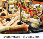 several beautiful sandwiches... | Shutterstock . vector #1179369286