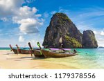 traditional long tail boat on... | Shutterstock . vector #1179378556