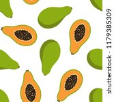 sweet whole papaya and cut... | Shutterstock .eps vector #1179385309