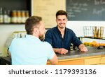 man ask for coffee at bar... | Shutterstock . vector #1179393136