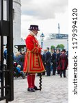 Small photo of London, England. May 23, 2014. Yeoman of the Guard (Beefeaters) at the Tower of London