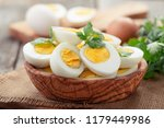 sliced boiled eggs decorated... | Shutterstock . vector #1179449986