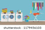laundry room interior with... | Shutterstock .eps vector #1179456103