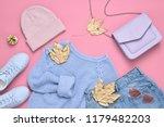 autumn girl clothes accessories ... | Shutterstock . vector #1179482203