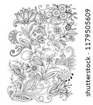 floral adult coloring page.... | Shutterstock .eps vector #1179505609