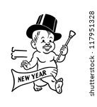 new year's baby   retro clipart ... | Shutterstock .eps vector #117951328