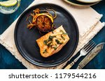 salmon sole meuniere with lemon.... | Shutterstock . vector #1179544216