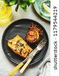 salmon sole meuniere with lemon.... | Shutterstock . vector #1179544219